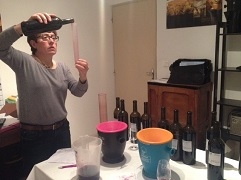 Martine PAGES of Domaine LA BOUYSSE working on the blending of her 2015 vintages.